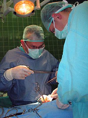 Operacja przeszczepienia nerki prowadzona przez dr. Macieja Słupskiego w Klinice Transplantologii i Chirurgii Ogólnej Szpitala Uniwersyteckiego
